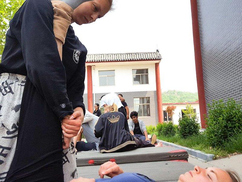 Hamstring injury during stretching during kung fu training in china