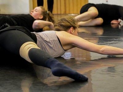 training dance techniques on the floor