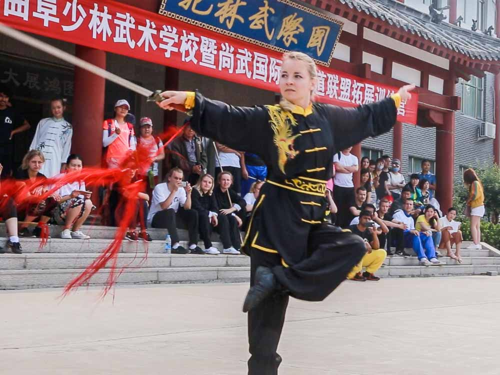Public performance in Kung Fu school in China