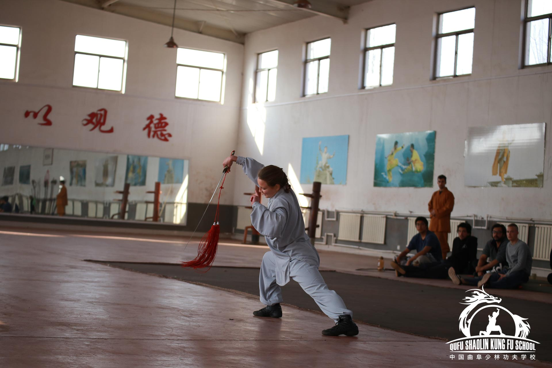 Grading five steps Kung Fu Form in Qufu Shaolin kung fu school