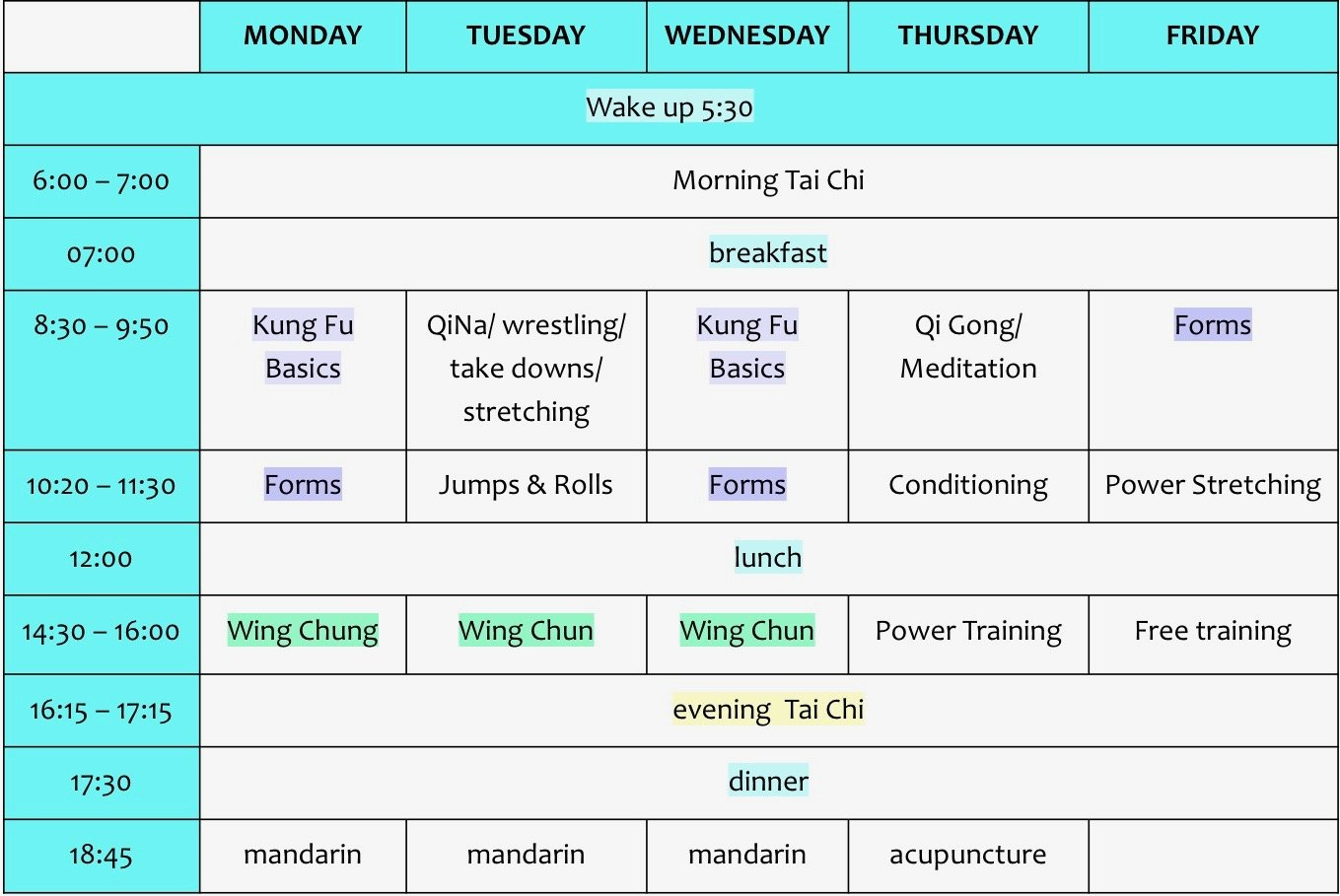 kung fu basics in china schedule