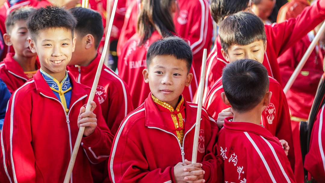 Chinese Wushu Students Waiting To Go Inside The Competition Place