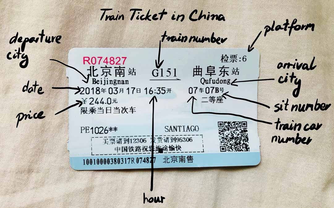 How to read a train ticket in china - EXPLANATION.